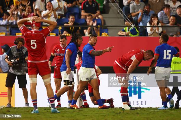 Alatimu of Samoa celebrates after scoring his sides first try during the Rugby World Cup 2019 Group A game between Russia and Samoa at Kumagaya Rugby...