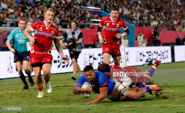 Alatimu of Samoa scores his sides first try during the Rugby World Cup 2019 Group A game between Russia and Samoa at Kumagaya Rugby Stadium on...