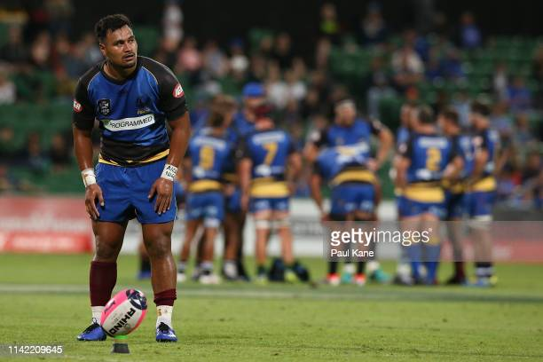 Alatimu of the Force lines up a conversion kick during the Rapid Rugby match between the Western Force and the Asia Pacific Dragons at HBF Stadium on...