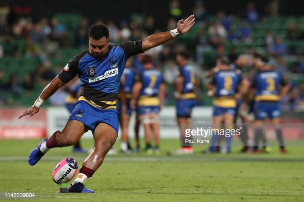 Alatimu of the Force takes a conversion kick during the Rapid Rugby match between the Western Force and the Asia Pacific Dragons at HBF Stadium on...