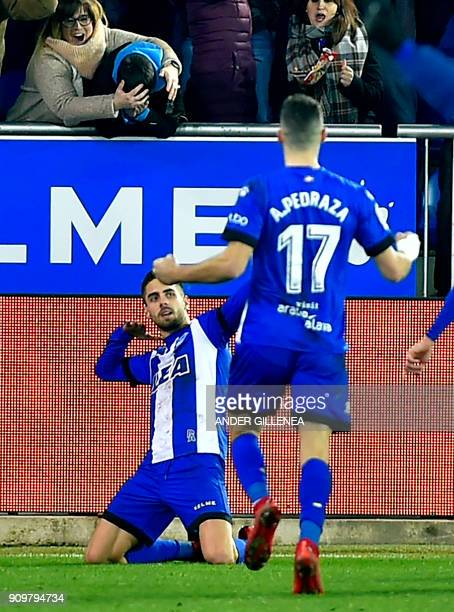 Alaves' Spanish forward Ruben Sobrino celebrates after scoring his team's second goal during the Spanish 'Copa del Rey' quarterfinal second leg...