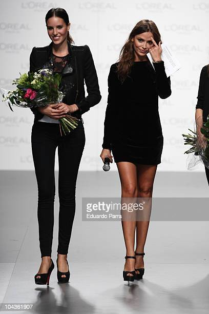 Alazne Bilbao excepts the L'Oreal Award for the best model during the Cibeles Madrid Fashion Week Spring/Summer at the Ifema on September 22 2010 in...