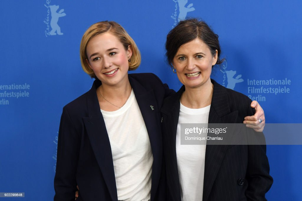 Alba August and Pernille Fischer Christensen pose at the 'Becoming Astrid' (Unga Astrid) photo call during the 68th Berlinale International Film Festival Berlin at Grand Hyatt Hotel on February 21, 2018 in Berlin, Germany.