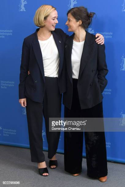 Alba August and Pernille Fischer Christensen pose at the 'Becoming Astrid' photo call during the 68th Berlinale International Film Festival Berlin at...