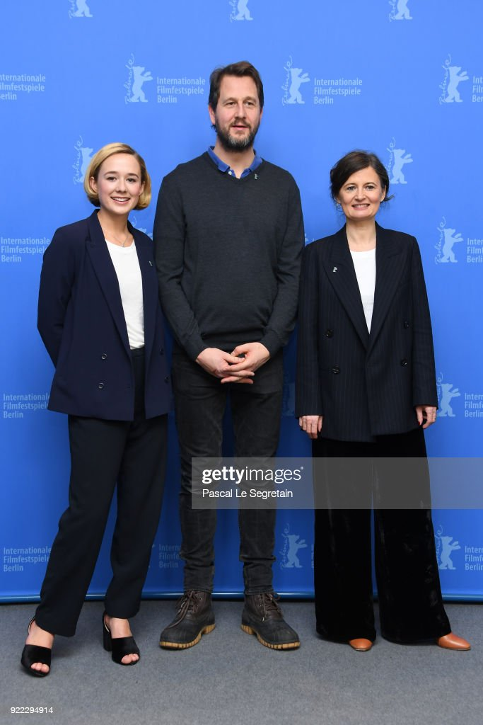 Alba August, Henrik Rafaelsen and Pernille Fischer Christensen pose at the 'Becoming Astrid' (Unga Astrid) photo call during the 68th Berlinale International Film Festival Berlin at Grand Hyatt Hotel on February 21, 2018 in Berlin, Germany.