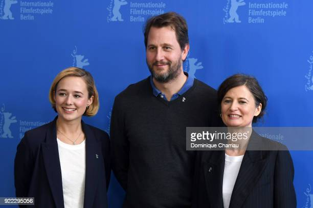Alba August Henrik Rafaelsen and Pernille Fischer Christensen pose at the 'Becoming Astrid' photo call during the 68th Berlinale International Film...