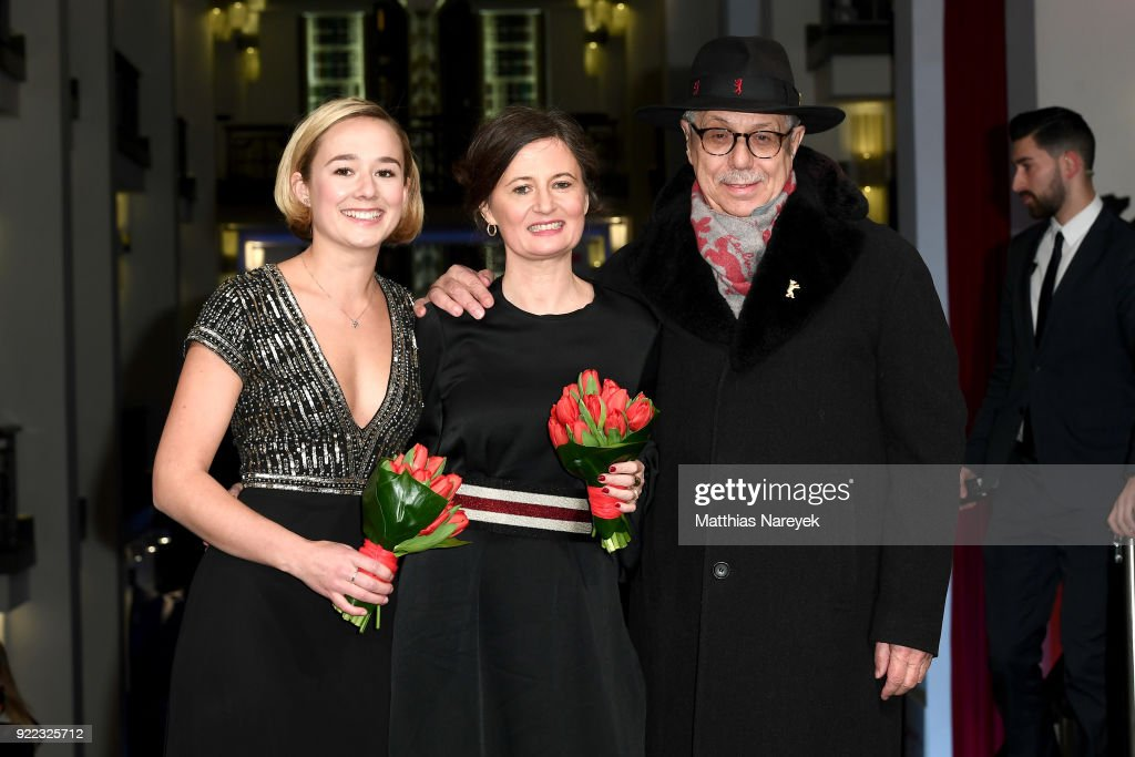 Alba August, Pernille Fischer Christensen and Festival director Dieter Kosslick attend the 'Becoming Astrid' (Unga Astrid) premiere during the 68th Berlinale International Film Festival Berlin at Friedrichstadtpalast on February 21, 2018 in Berlin, Germany.