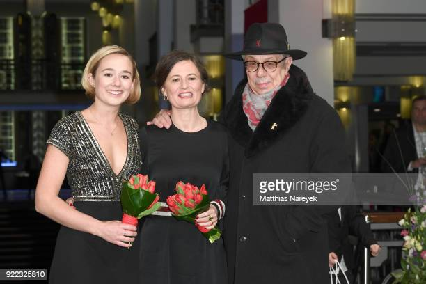 Alba August Pernille Fischer Christensen and Festival director Dieter Kosslick attend the 'Becoming Astrid' premiere during the 68th Berlinale...