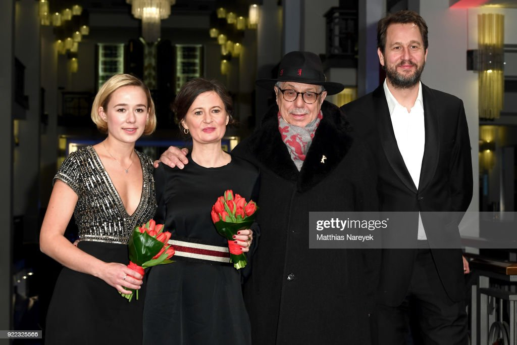 Alba August, Pernille Fischer Christensen, Festival director Dieter Kosslick and Henrik Rafaelsen attend the 'Becoming Astrid' (Unga Astrid) premiere during the 68th Berlinale International Film Festival Berlin at Friedrichstadtpalast on February 21, 2018 in Berlin, Germany.