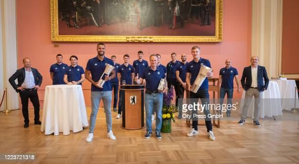 Alba Berlin poses for a photo during the visit at Rotes Rathaus on July 1, 2020 in Berlin, Germany.