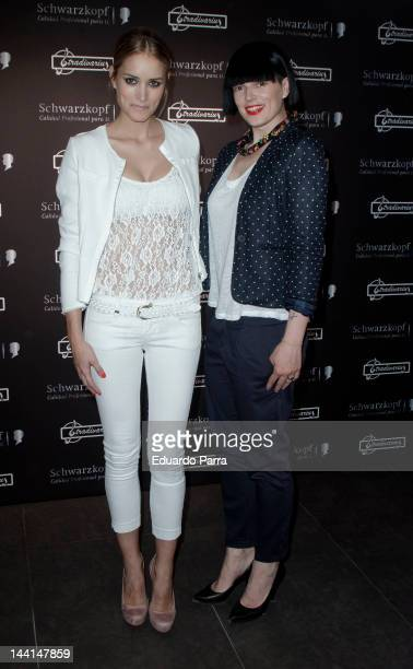 Alba Carrillo and Bimba Bose attend 'Trend looks 2012 by Schwarzkopf' photocall at Stradivarius store on May 10 2012 in Madrid Spain