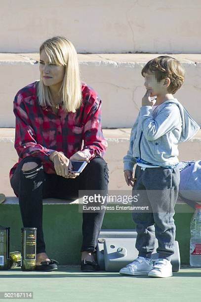 Alba Carrillo and her son Lucas Nieto are seen on December 19 2015 in Marbella Spain