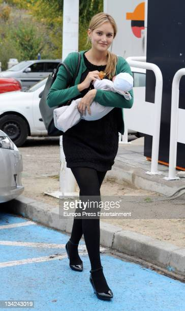 Alba Carrillo and her son Lucas Nieto are seen on November 29 2011 in Madrid Spain