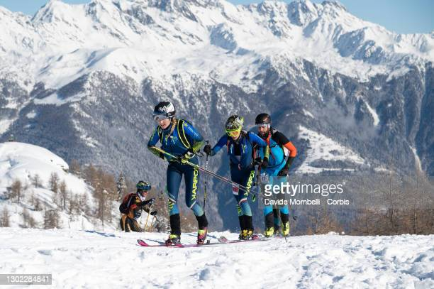 Alba De Silvestro and her teammate Giulia Murada arrive first in the women's category at the first pass on the top of the mountain during Italian...