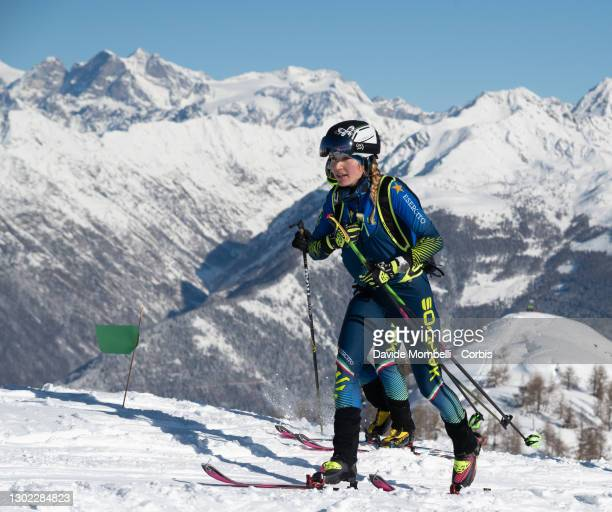 Alba De Silvestro arrives first in the women's category on the first pass on the top of the mountain during Italian Team Ski Mountaineering...