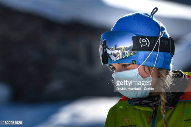 Alba De Silvestro during the award ceremony during Italian Team Ski Mountaineering Championships on February 14, 2021 in ALBOSAGGIA, Italy.