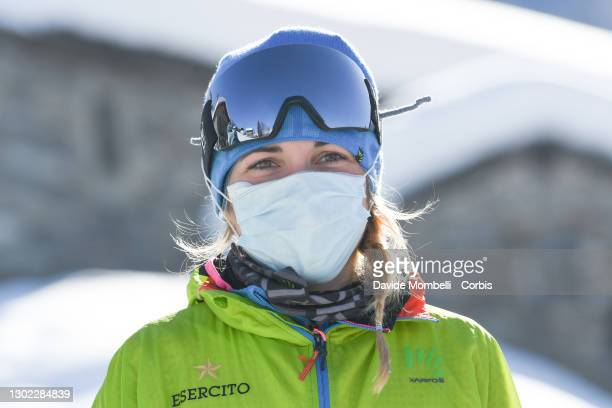 Alba De Silvestro during the awards ceremony, which sees her win with her teammate Giulia Muradaduring Italian Team Ski Mountaineering Championships...