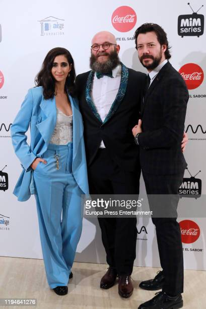 Alba Flores Darko Peric and Alvaro Morte attend 'MiM' awards 2019 at Hotel Puerta de America on December 17 2019 in Madrid Spain