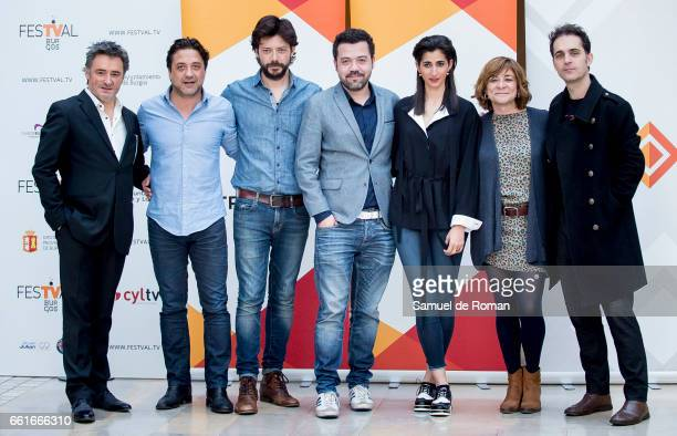 Alba Flores Pedro Alonso Alvaro Morte and Enrique Arce attends La Casa de Papel photocall on March 31 2017 in Burgos Spain