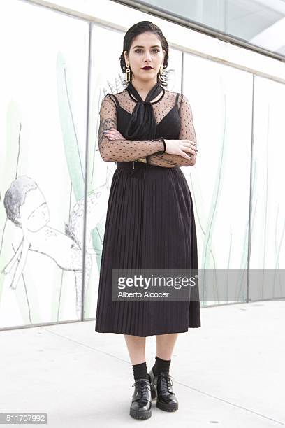 Alba Formoso wears Zara total look during Mercedes Benz Fashion Week at Ifema on February 19 2016 in Madrid Spain