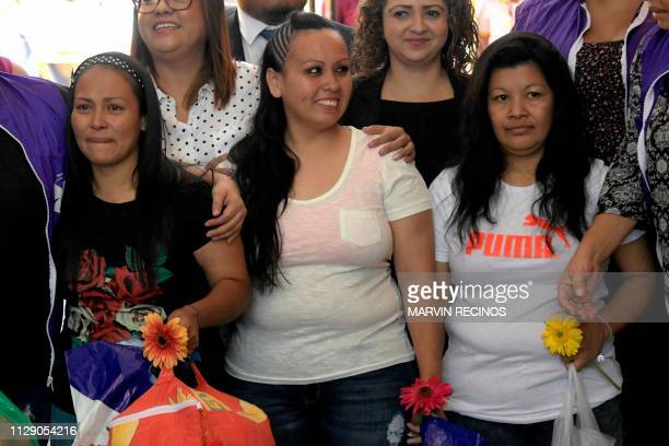 Alba Lorena Rodriguez Cinthia Marcela Rodriguez and Maria Orellana are pictured shortly after being released from the Women's Rehabilitation centre...