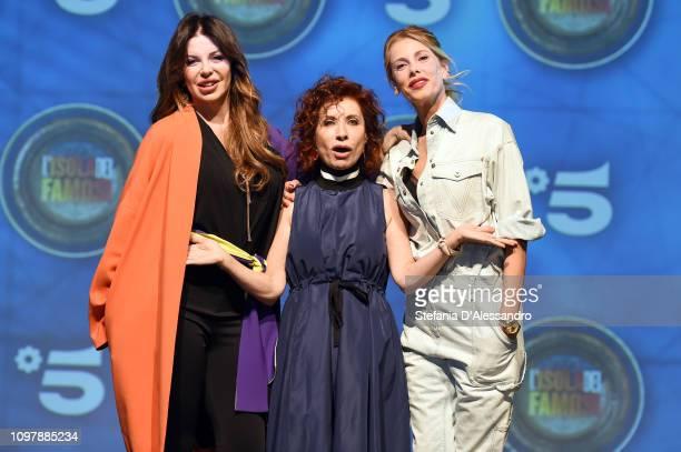 Alba Parietti Alda D'Eusanio and Alessia Marcuzzi attend L'Isola Dei Famosi 2019 photocall on January 22 2019 in Milan Italy