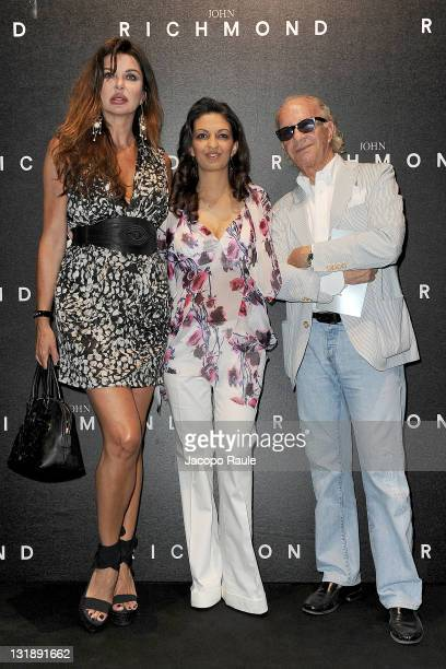 Alba Parietti Alessandra Moschillo and Bobo Krieger attend the John Richmond fashion show as part of Milan Fashion Week Menswear Spring/Summer 2012...