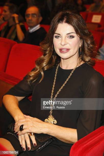 Alba Parietti attends Martin Scorsese meets the audience during the 13th Rome Film Fest at Auditorium Parco Della Musica on October 22 2018 in Rome...