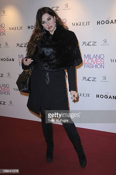 Alba Parietti attends the Duran Duran dinner and concert at the Teatro dal Verme as part of Milan Fashion Week Womenswear Autumn/Winter 2011 on...