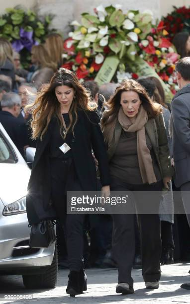 Alba Parietti attends the Fabrizio Frizzi funeral service at Piazza del Popolo on March 28 2018 in Rome Italy