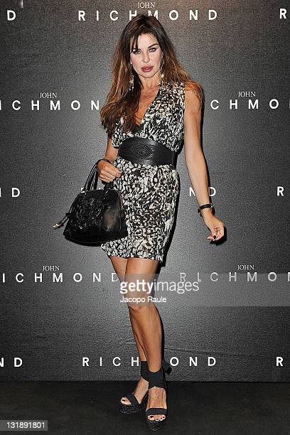 Alba Parietti attends the John Richmond fashion show as part of Milan Fashion Week Menswear Spring/Summer 2012 on June 20 2011 in Milan Italy