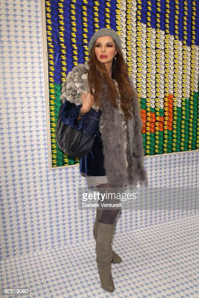 Alba Parietti attends the Thomas Bayrle preview at the Cardi Black Box Gallery on October 29 2009 in Milan Italy