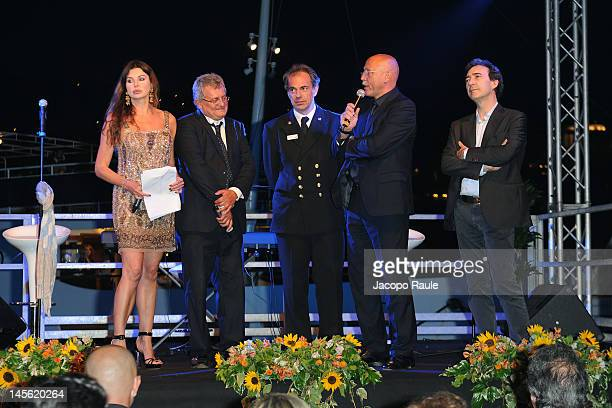 Alba Parietti Augusto Sartori Giovanni Schiaffino and Claudio Galante attend the Dionea 50th Anniversary Party on June 2 2012 in Santa Margherita...