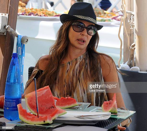 Alba Parietti is seen at the beach on July 11 2009 in Milano Marittima Italy