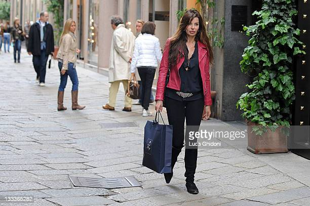 Alba Parietti is seen shopping on April 21 2009 in Milan Italy