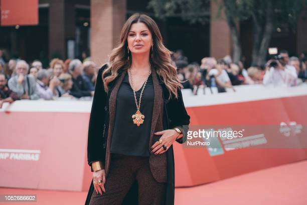 Alba Parietti walks the red carpet ahead of the 'If Beale Street Could Talk' screening during the 13th Rome Film Fest at Auditorium Parco Della...
