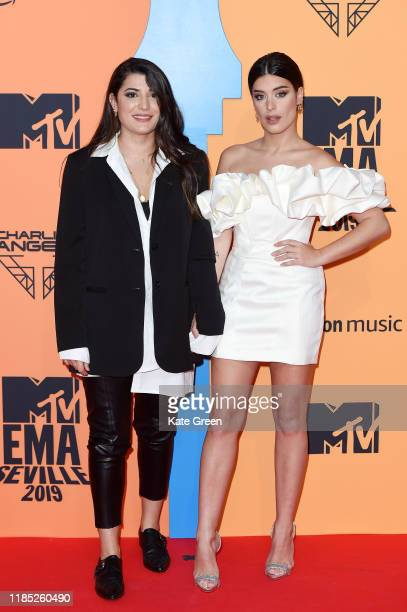 Alba Paul Ferrer and Aida Domenech attend the MTV EMAs 2019 at FIBES Conference and Exhibition Centre on November 03 2019 in Seville Spain