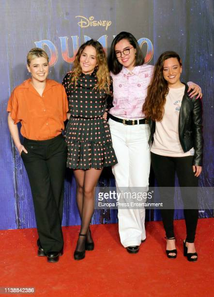 Alba Reche Marilia Marta and Noelia attend 'Dumbo' premiere at Principe Pio Theatre on March 27 2019 in Madrid Spain