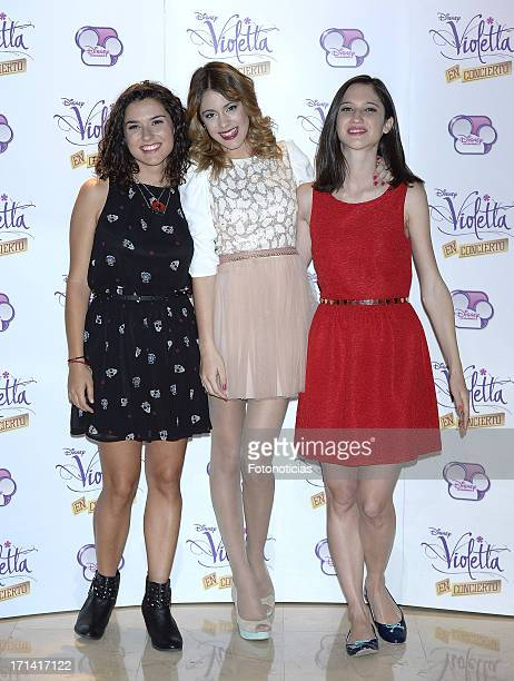 Alba Rico Martina Stoessel and Lodovica Comello attend a photocall for 'Violetta' at Emperador Hotel on June 24 2013 in Madrid Spain