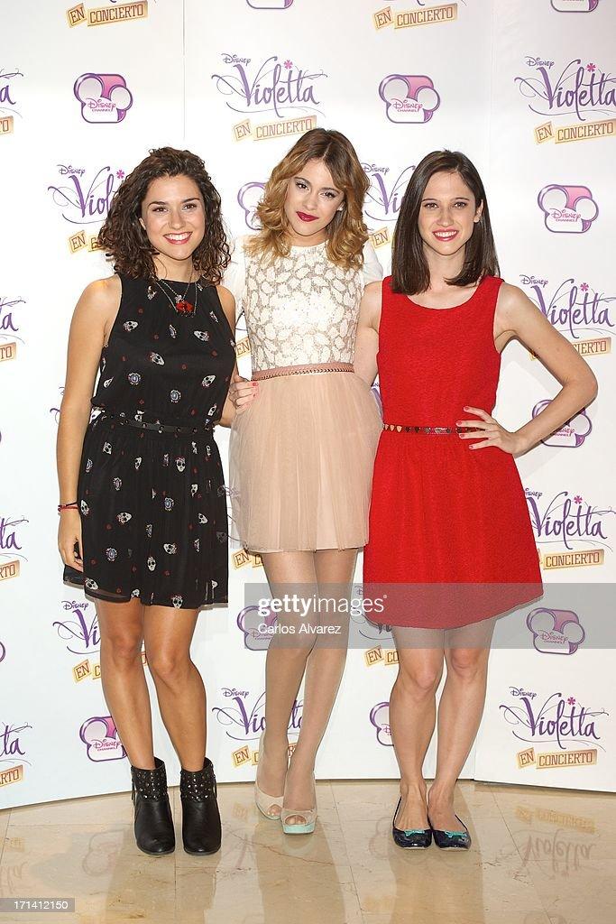 Alba Rico, Martina Stoessel and Ludovica Comello attend the 'Violetta' photocall at the Emperador Hotel on June 24, 2013 in Madrid, Spain.
