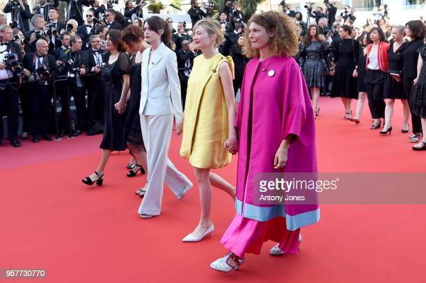 Alba Rohrwacher and Ginevra Elkann walk the red carpet in protest of the lack of female filmmakers honored throughout the history of the festival at...
