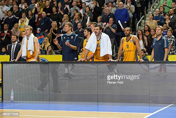 Alba substitutes' bench celebrates the home victory during the game between Alba Berlin and FC Barcelona on january 2, 2015 in Berlin, Germany.