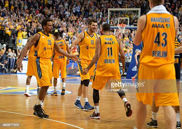 Alba Team celebrates during the game between Alba Berlin and FC Barcelona on january 2 2015 in Berlin Germany