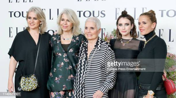 Alba Tous, Rosa Tous, Rosa Oriol, Emma Roberts and Marta Tous attend the photocall of 'Elle Tribute To Emma Roberts' at Palacio Santa Barbara on...