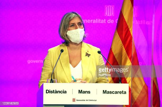 Alba Verges health counselor during the press conference to announce new measures to fight the Covid19 pandemic in Catalonia in Barcelona on 124th...