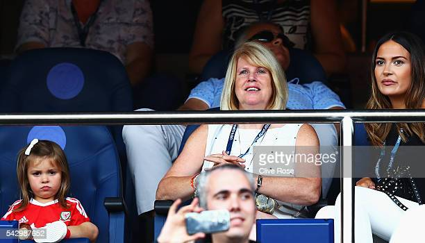 Alba Violet daughter of Gareth Bale Debbie Bale mother of Gareth Bale and Emma RhysJones wife of Gareth Bale are seen prior to the UEFA EURO 2016...