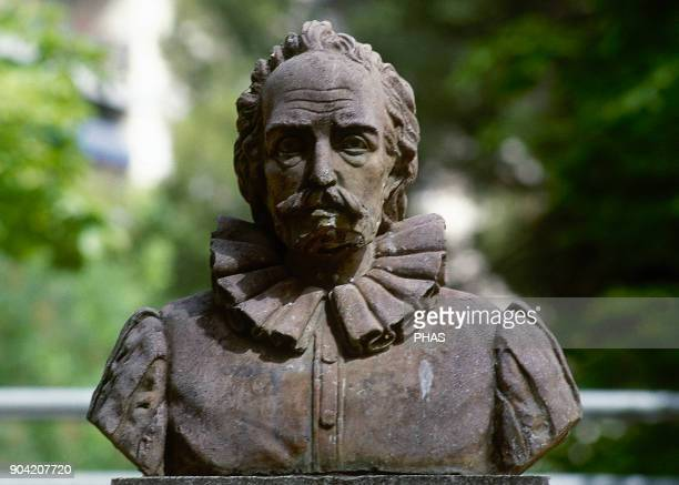 Albacete CastileLa Mancha Spain Bust of Cervantes inaugurated in 1948 by the sculptor Ignacio Pinazo Monument located in Parque Abelardo Sanchez...