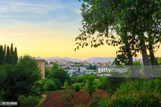 Albaicin at sunset as seen from the Generalife Gardens