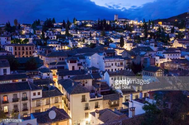 albaicin district, blue hour - albaicín fotografías e imágenes de stock