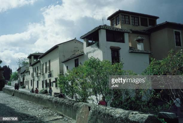 Albaicin neighbourhood in Granada City Real Street in the ancient Albaicin district Granada